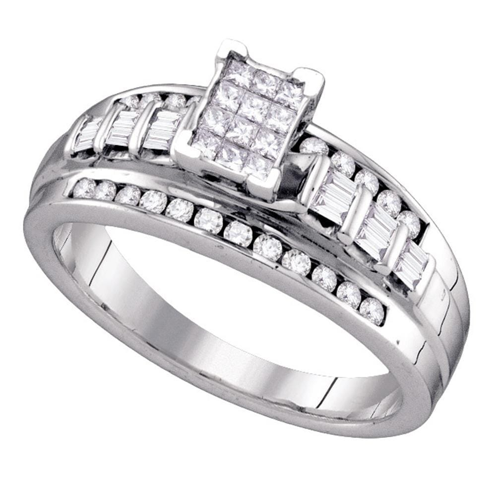 Sterling Silver Womens Princess Diamond Cluster Bridal Wedding Engagement Ring 1/2 Cttw