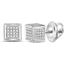 Sterling Silver Mens Round Diamond 3D Square Cluster Stud Earrings 1/3 Cttw