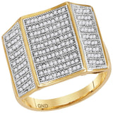 10kt Yellow Gold Mens Round Pave-set Diamond Concave Rectangle Cluster Ring 1/2 Cttw
