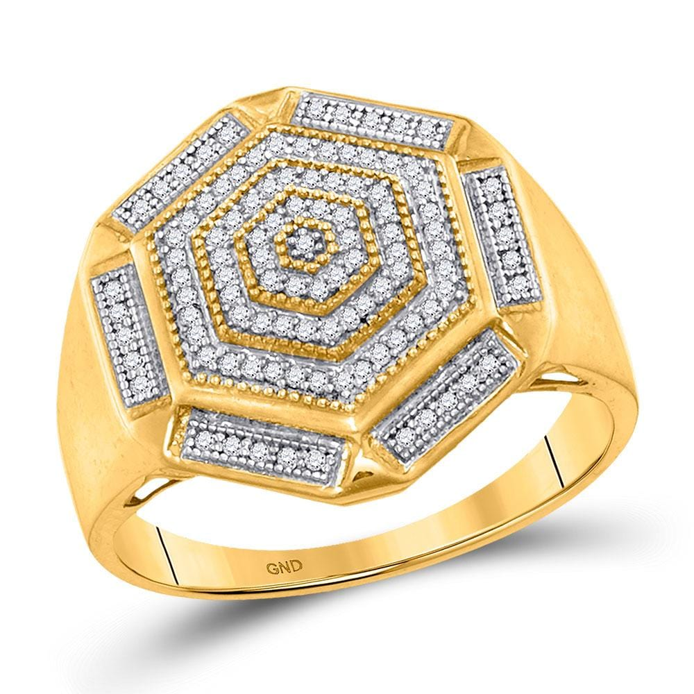 10kt Yellow Gold Mens Round Diamond Hexagon Cluster Ring 1/3 Cttw