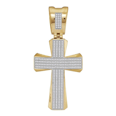 10kt Yellow Gold Mens Round Diamond Flared Pattee Cross Religious Charm Pendant 3/4 Cttw