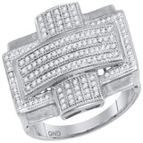 10kt White Gold Mens Round Diamond Convex Cross Rectangle Cluster Ring 1/2 Cttw