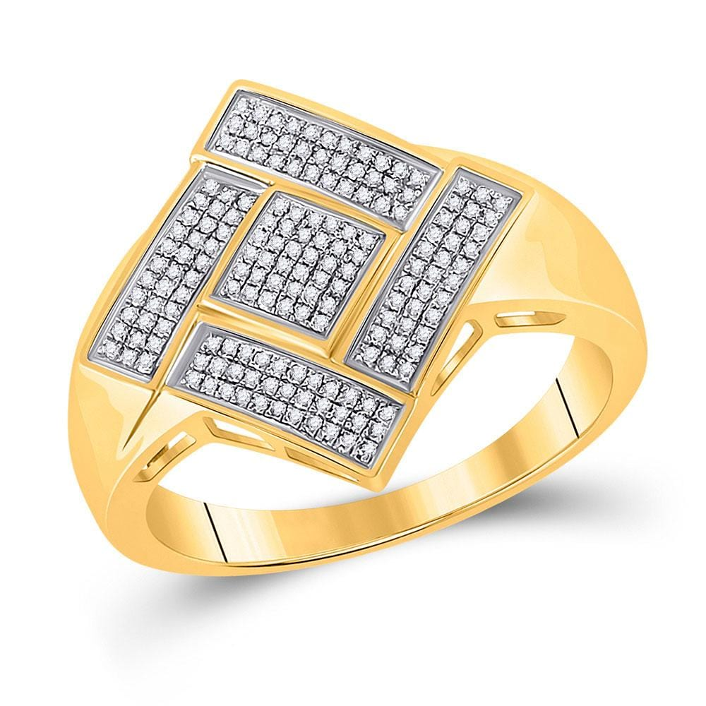 10kt Yellow Gold Mens Round Diamond Diagonal Offset Square Ring 1/3 Cttw