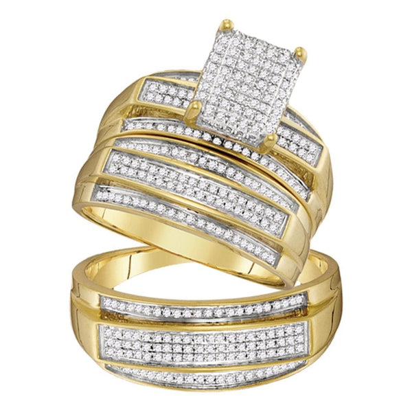 10kt Yellow Gold His & Hers Round Diamond Rectangle Cluster Matching Bridal Wedding Ring Band Set 5/8 Cttw