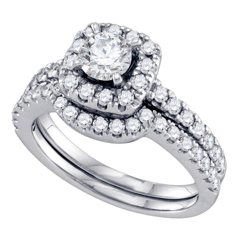 14kt White Gold Womens Round Diamond Halo Bridal Wedding Engagement Ring Band Set 1-1/3 Cttw