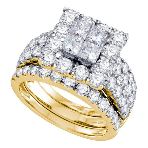 14kt Yellow Gold Womens Princess Diamond Square Halo 3-Piece Bridal Wedding Engagement Ring Band Set 4.00 Cttw