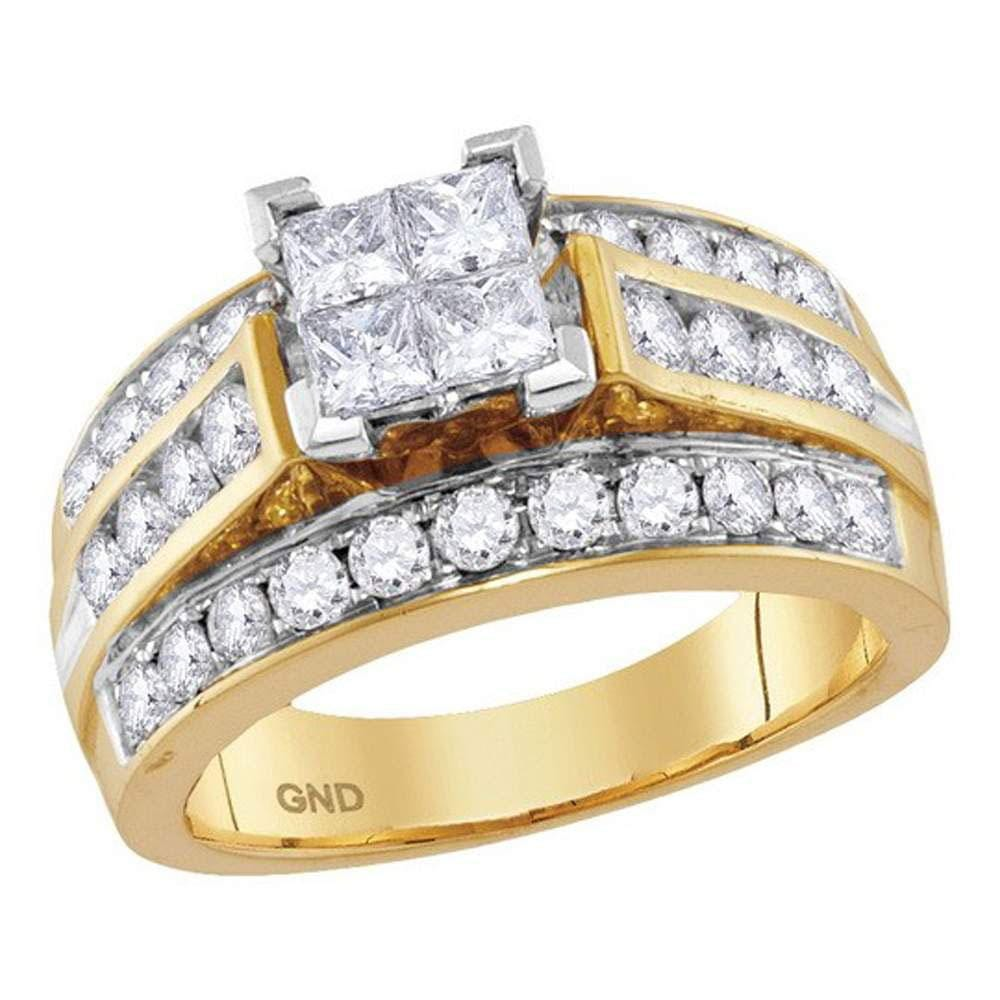 14kt Yellow Gold Womens Princess Diamond Cluster Bridal Wedding Engagement Ring 1 - 3/4 Cttw