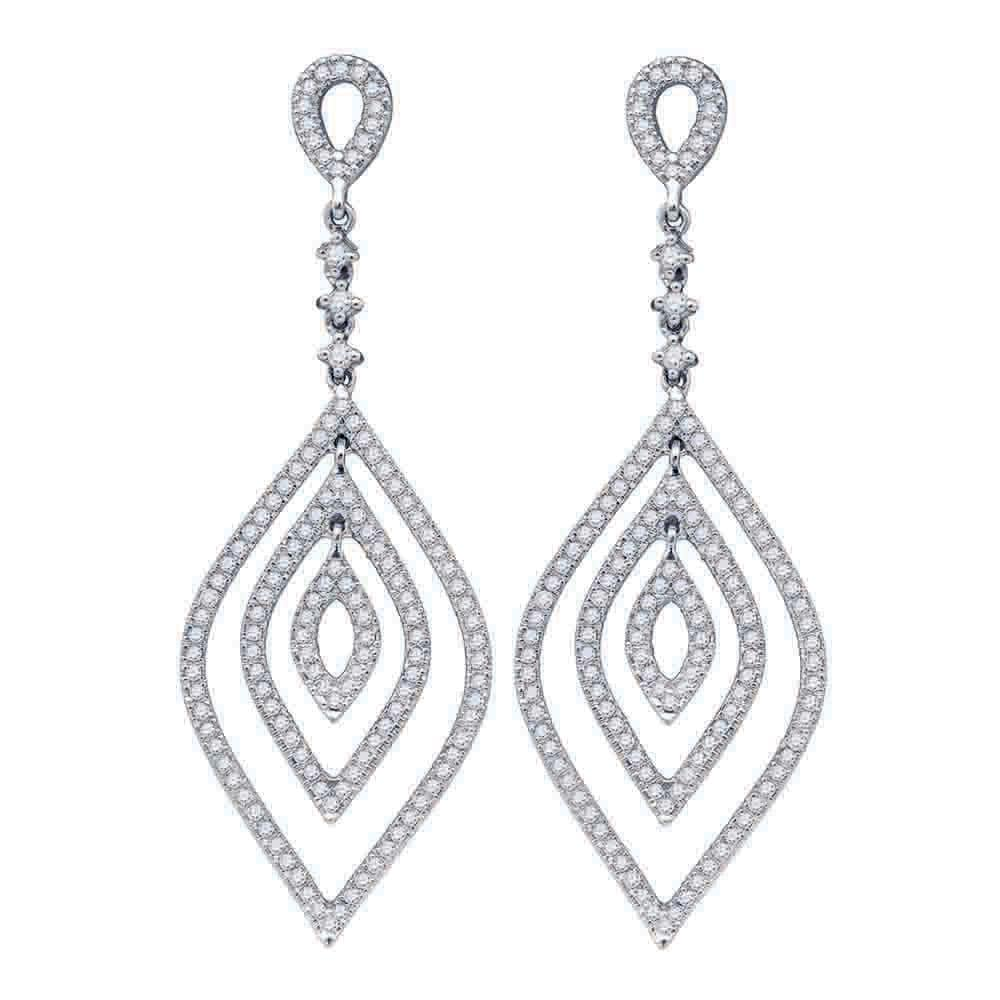14kt White Gold Womens Round Diamond Oval Dangle Earrings 1-1/5 Cttw