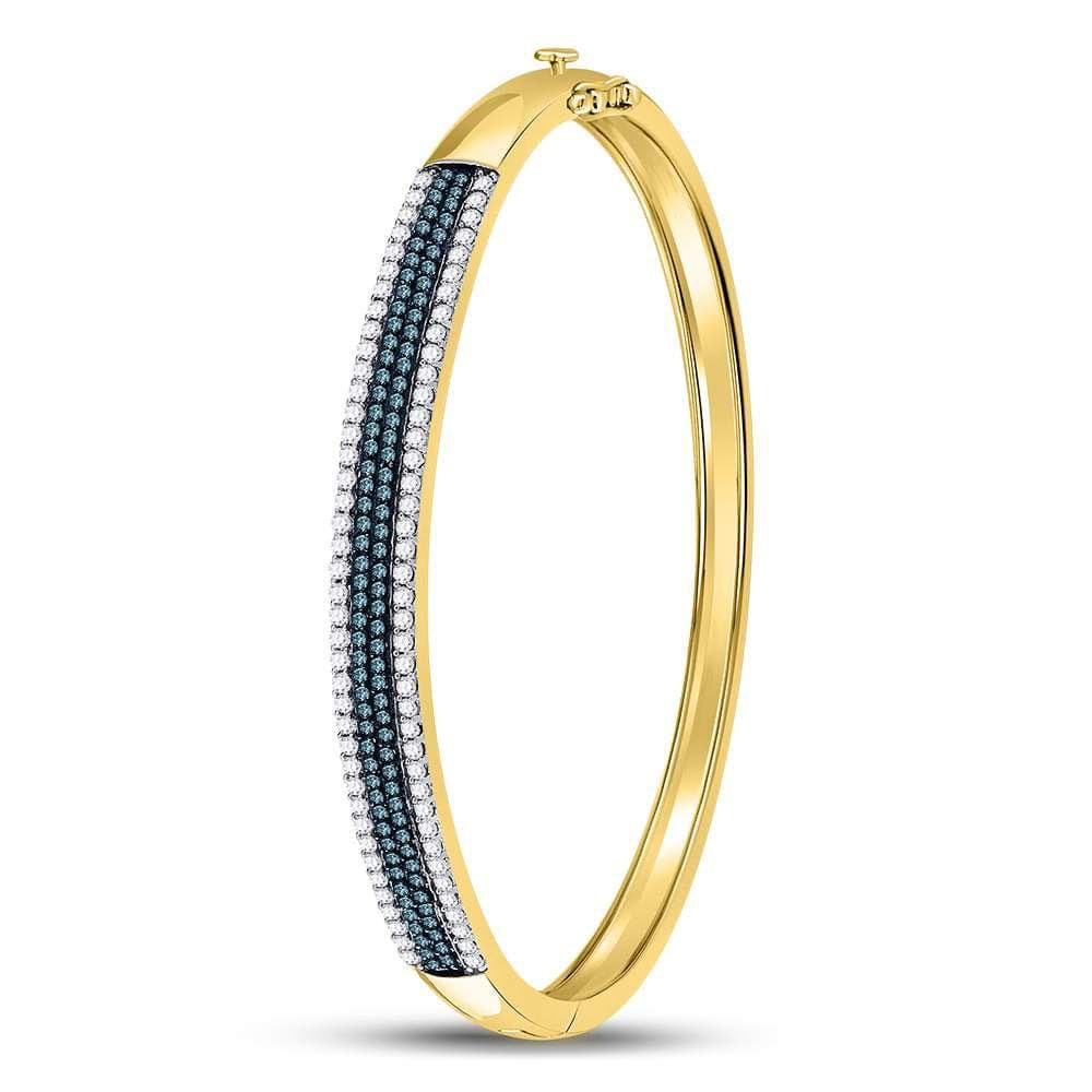 14kt Yellow Gold Womens Round Blue Color Enhanced Diamond Bangle Bracelet 1-3/8 Cttw