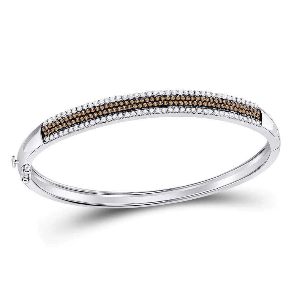 14kt White Gold Womens Round Brown Color Enhanced Diamond Bangle Bracelet 1-3/8 Cttw