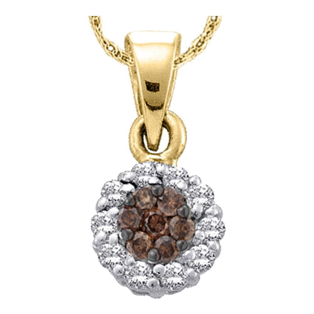 14k Yellow Gold Womens Cognac-brown Color Enhanced Diamond Round Flower Cluster Pendant 1.00 Cttw