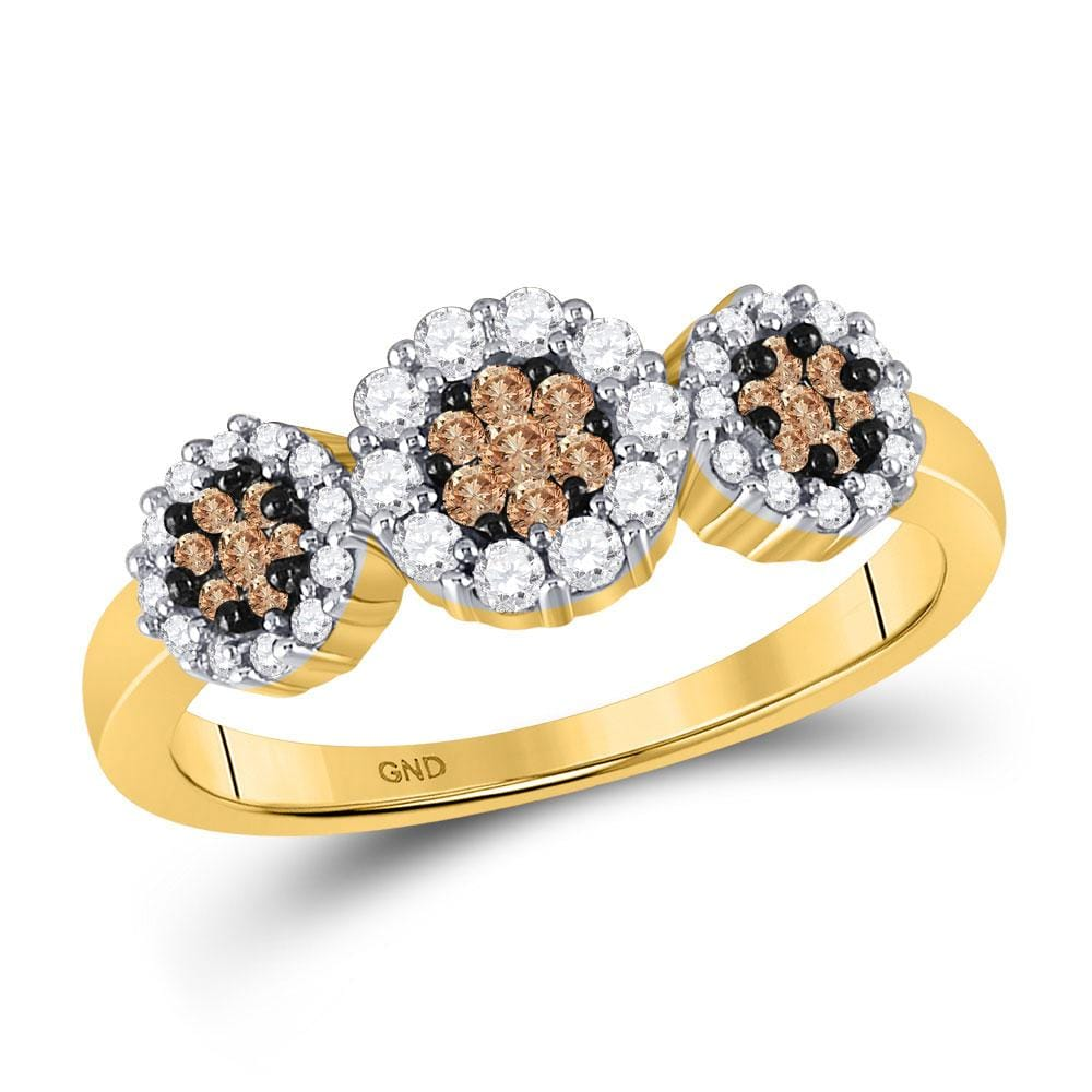 14kt Yellow Gold Womens Round Brown Diamond Cluster Ring 1/2 Cttw