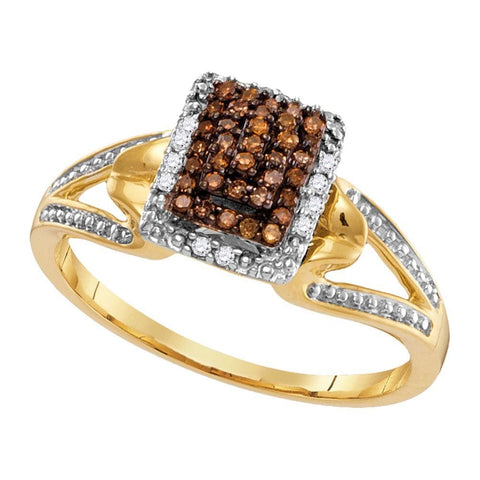 10kt Yellow Gold Womens Round Cognac-brown Color Enhanced Diamond Cluster Ring 1/6 Cttw