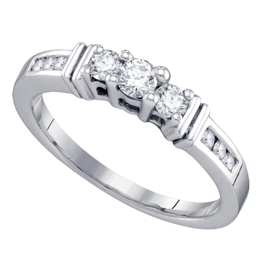 14kt White Gold Womens Round Diamond 3-stone Bridal Wedding Engagement Ring 1/3 Cttw