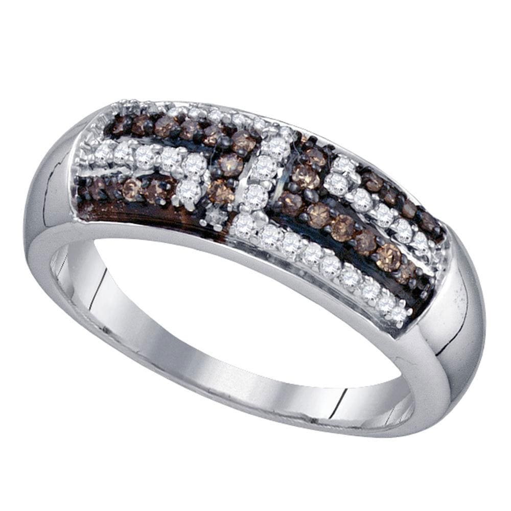 Sterling Silver Womens Round Brown Diamond Band Ring 3/8 Cttw