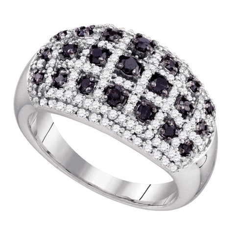 10kt White Gold Womens Round Black Color Enhanced Diamond Lattice Band Ring 1.00 Cttw