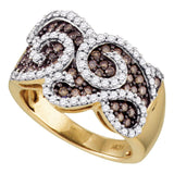 10kt Yellow Gold Womens Round Cognac-brown Color Enhanced Natural Diamond Swirled Cocktail Ring 1.00 Cttw