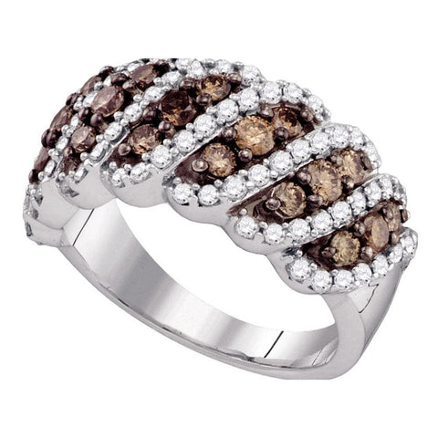 10kt White Gold Womens Round Cognac-brown Color Enhanced Diamond Striped Band Ring 1-1/2 Cttw
