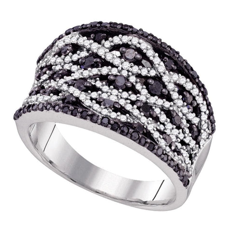 10kt White Gold Womens Round Black Color Enhanced Diamond Striped Fashion Ring 1.00 Cttw