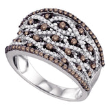 10kt White Gold Womens Round Cognac-brown Color Enhanced Diamond Stripe Fashion Ring 1-1/20 Cttw