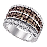 10kt White Gold Womens Round Brown Color Enhanced Diamond Band Ring 1-5/8 Cttw