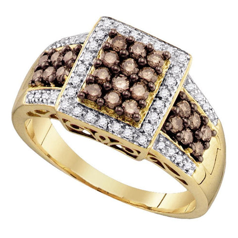 10kt Yellow Gold Womens Round Cognac-brown Color Enhanced Diamond Square Cluster Ring 5/8 Cttw