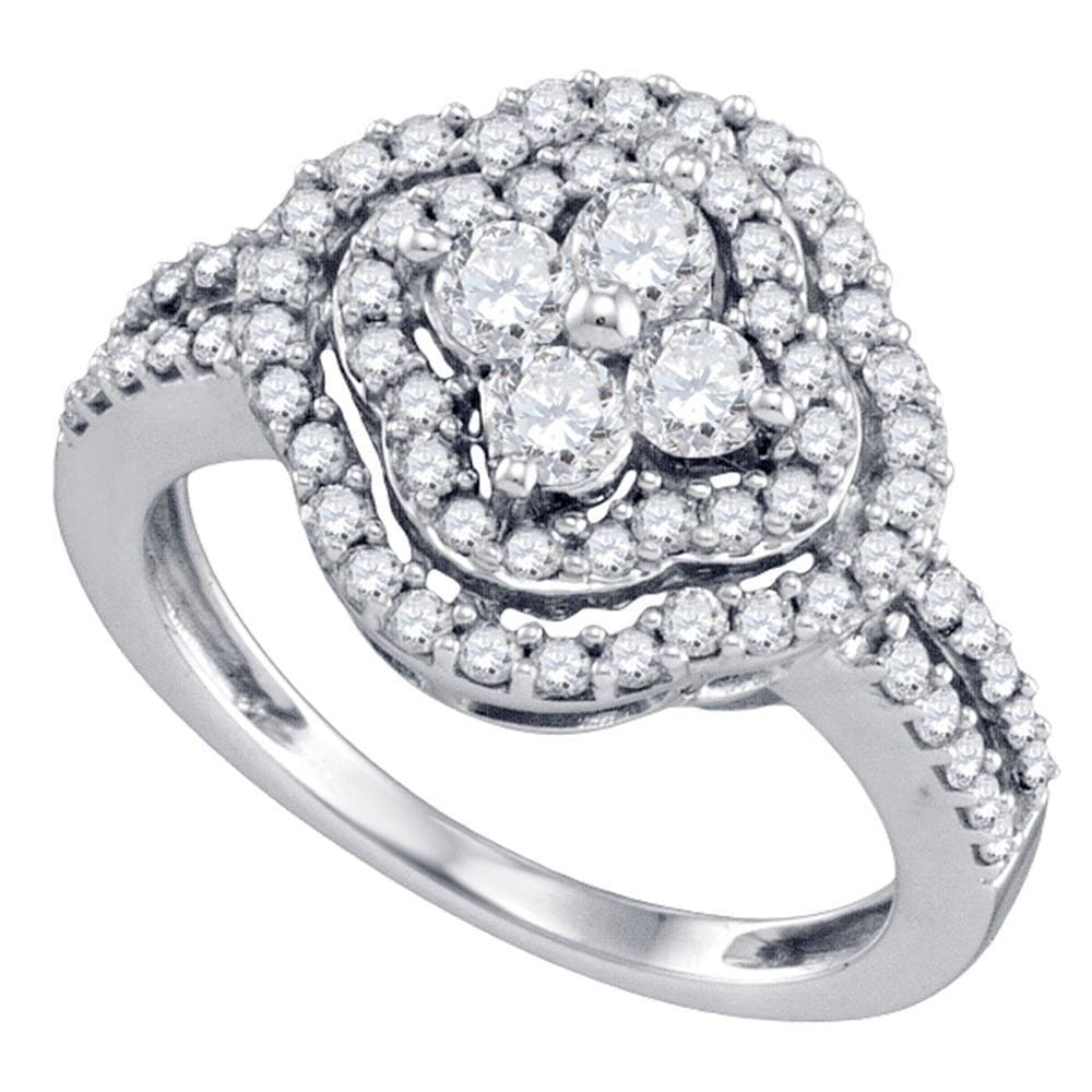 14kt White Gold Womens Round Diamond Quatrefoil Cluster Ring 1 Cttw
