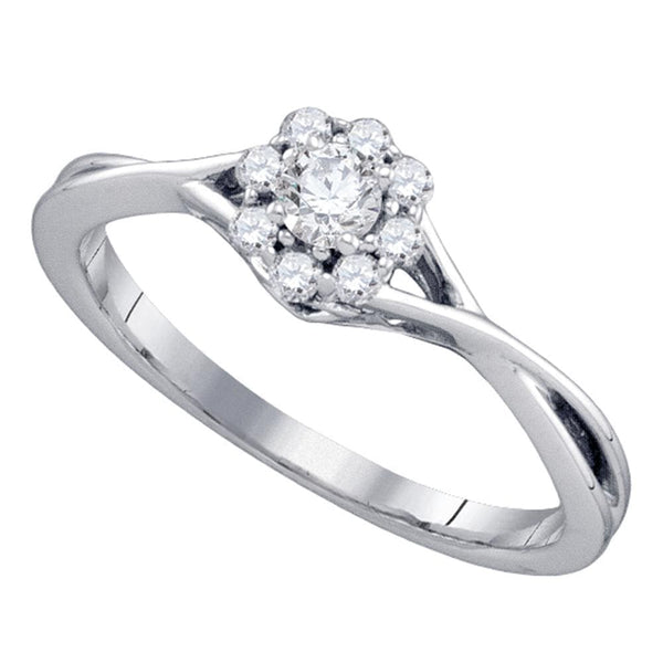 14kt White Gold Womens Round Diamond Flower Cluster Promise Bridal Ring 1/4 Cttw