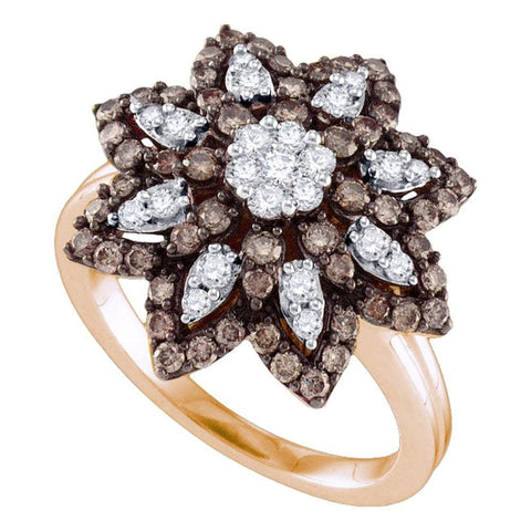 10kt Rose Gold Womens Round Cognac-brown Color Enhanced Diamond Flower Cluster Ring 1.00 Cttw