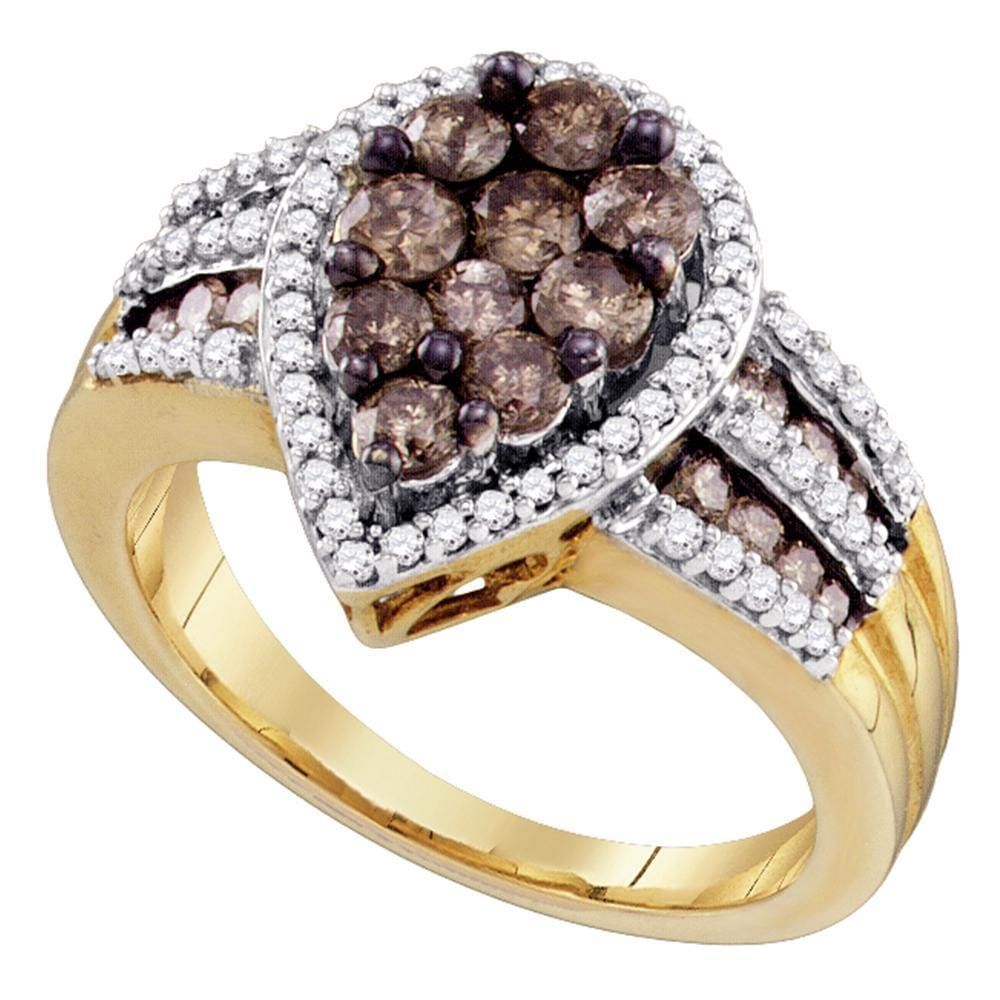 10kt Yellow Gold Womens Round Brown Color Enhanced Diamond Teardrop Cluster Ring 1-1/2 Cttw