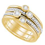 10kt Yellow Gold Womens Round Diamond Stackable Band Ring 1/2 Cttw