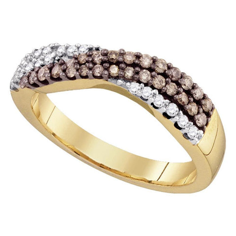 10kt Yellow Gold Womens Round Cognac-brown Color Enhanced Diamond Crossover Band Ring 3/8 Cttw