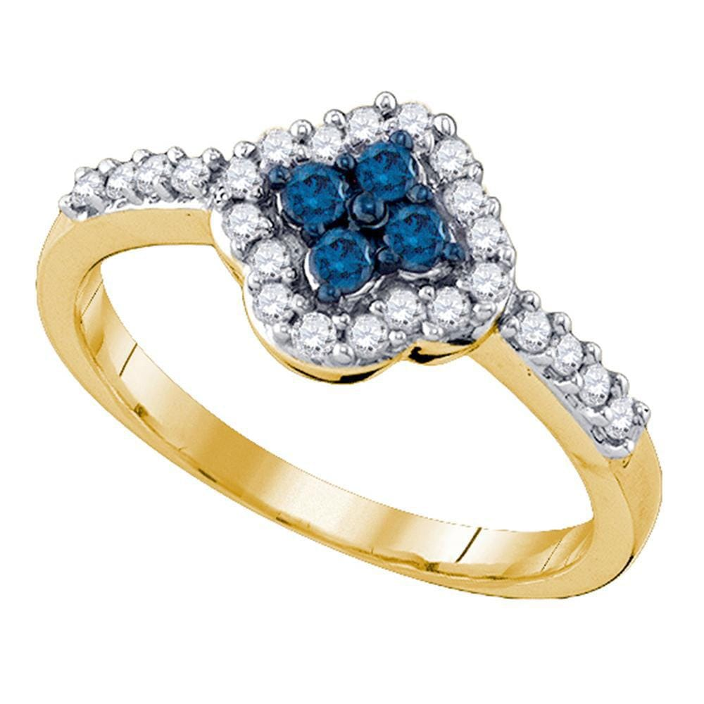 10kt Yellow Gold Womens Round Blue Color Enhanced Diamond Cluster Ring 3/8 Cttw