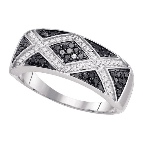 10kt White Gold Womens Round Black Color Enhanced Diamond Chevron Band Ring 3/8 Cttw