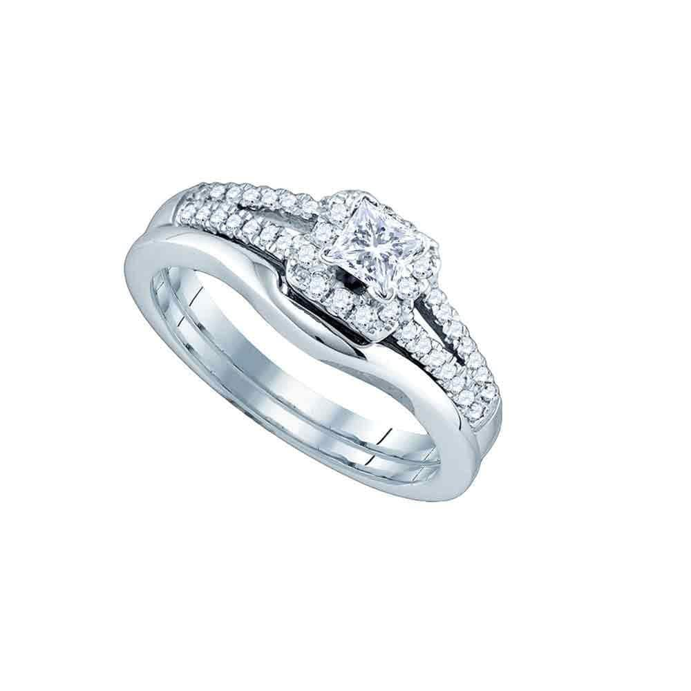 14k White Gold Princess Diamond Bridal Wedding Ring Band Set 1/2 Cttw