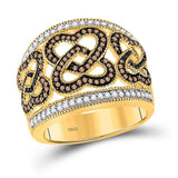 10kt Yellow Gold Womens Round Brown Diamond Joined Heart Ring 1/2 Cttw