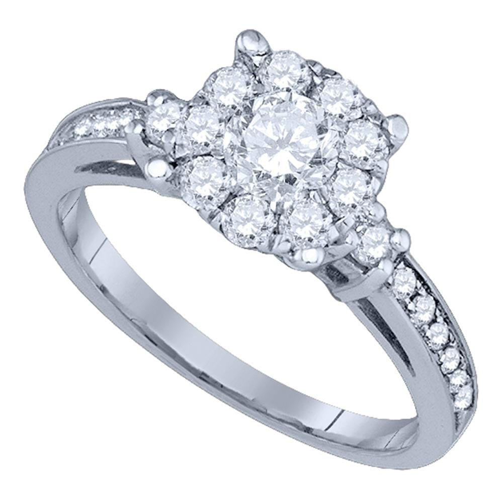 14kt White Gold Round Diamond Solitaire Bridal Wedding Engagement Ring 1 Cttw