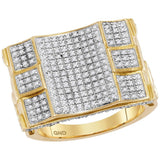 10kt Yellow Gold Mens Round Diamond Concave Cluster Ring 3/4 Cttw