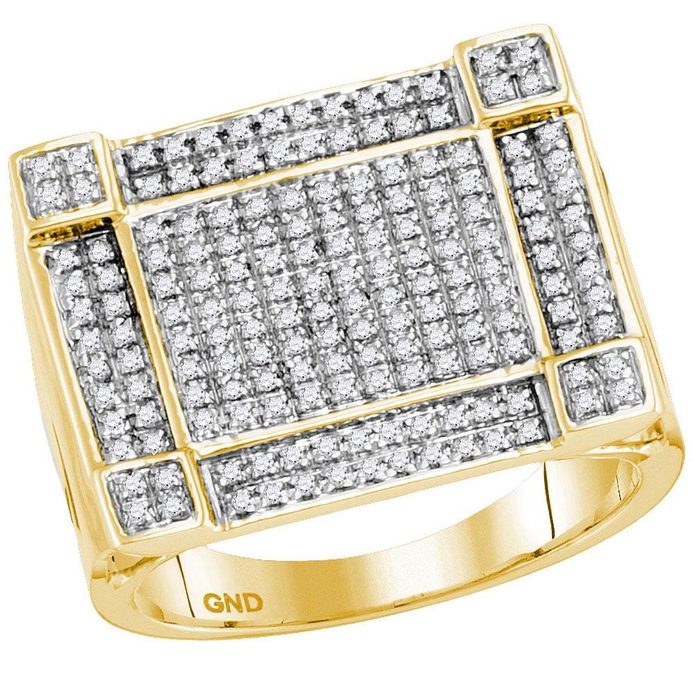 10kt Yellow Gold Mens Round Diamond Square Corner Cluster Ring 5/ Cttw