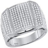 10kt White Gold Mens Round Diamond Arched Cluster Ring 3/4 Cttw