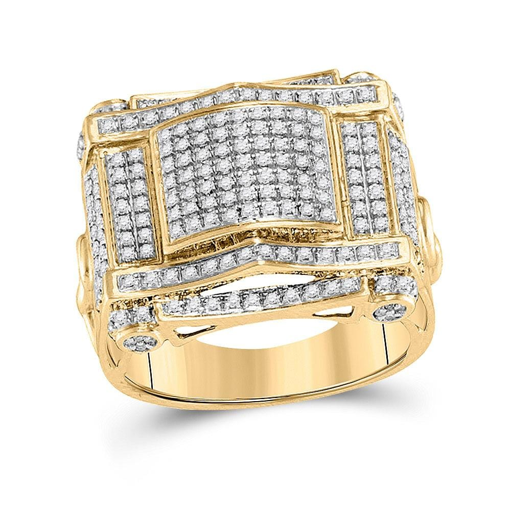10kt Yellow Gold Mens Round Diamond Domed Square Cluster Ring 5/ Cttw