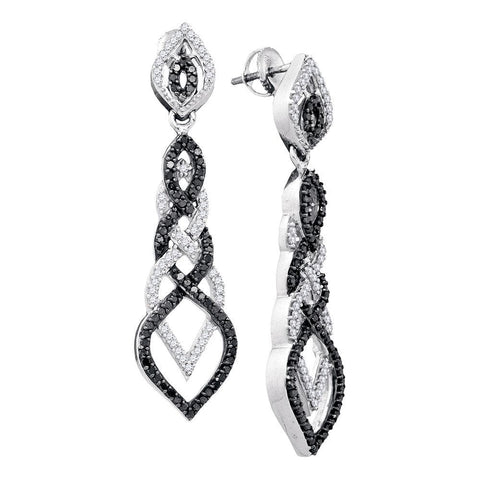 10kt White Gold Womens Round Black Color Enhanced Diamond Braided Dangle Earrings 1-1/2 Cttw