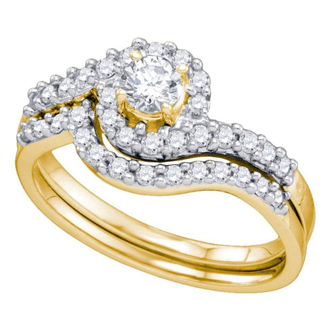 14kt Yellow Gold Womens Round Diamond Bridal Wedding Engagement Ring Band Set 5/8 Cttw