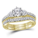 14kt Yellow Gold Womens Round Diamond 3-stone Bridal Wedding Engagement Ring Band Set 1.00 Cttw