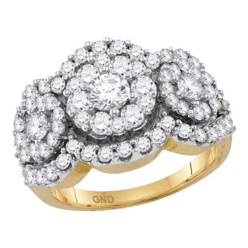 14kt Yellow Gold Womens Round Diamond Triple Cluster Bridal Wedding Engagement Ring 2.00 Cttw