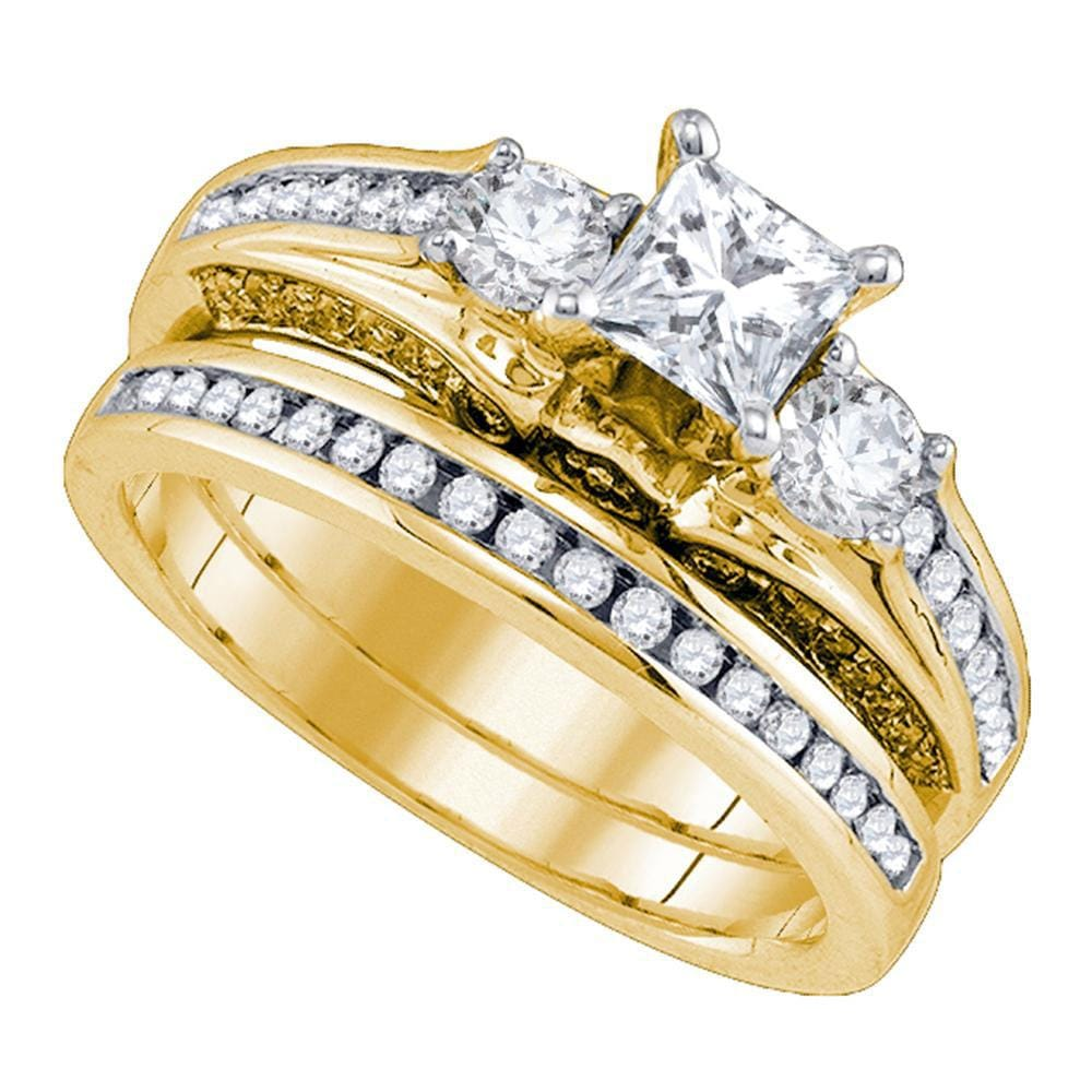 14kt Yellow Gold Princess Diamond Bridal Wedding Ring Band Set 1-1/4 Cttw