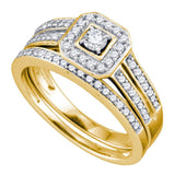14kt Yellow Gold Round Diamond Square Halo Bridal Wedding Ring Band Set 1/2 Cttw