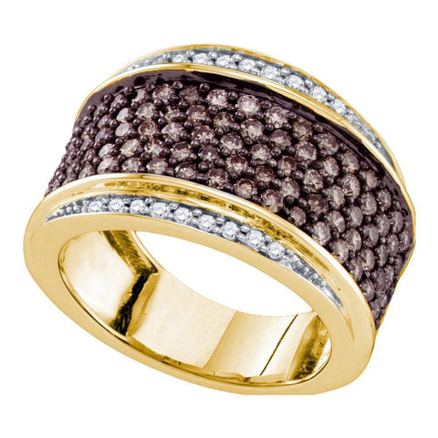 10kt Yellow Gold Womens Round Cognac-brown Color Enhanced Diamond Cocktail Ring 1-1/2 Cttw