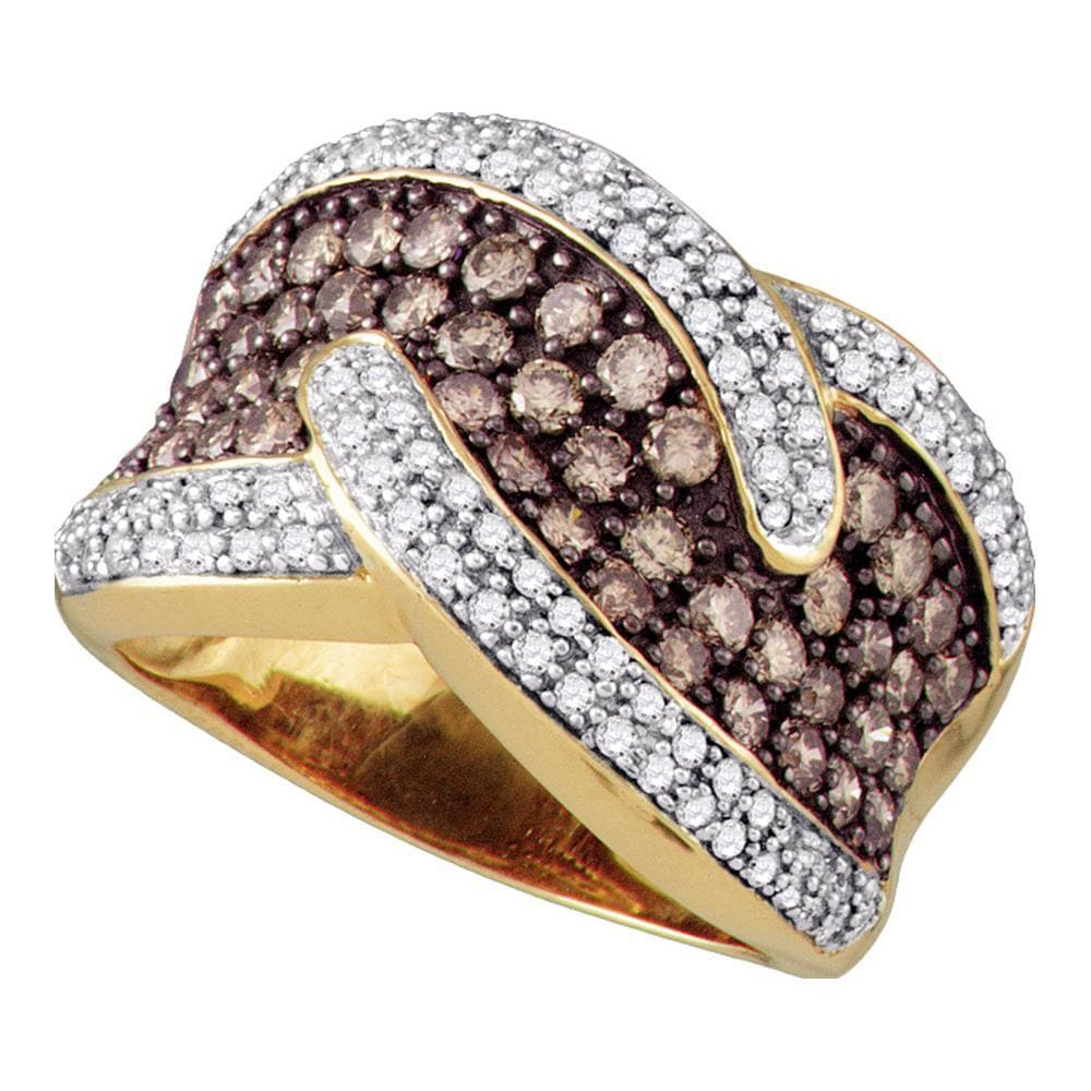 10kt Yellow Gold Womens Round Brown Color Enhanced Diamond Band Ring 2-1/10 Cttw