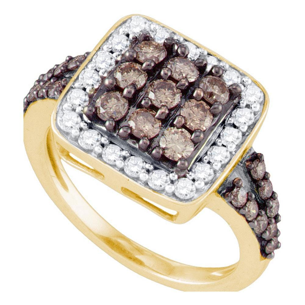 10kt Yellow Gold Womens Round Brown Diamond Square Cluster Ring 1-5/8 Cttw